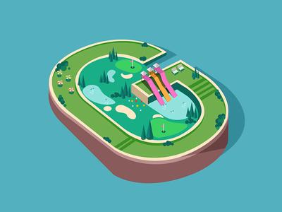 Letter G g garden golf amusement park water green garden isometric 3d