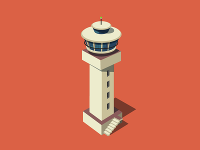 Letter I i iconic tower air traffic control room airport isomeric letter letters 3d illustration
