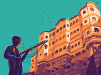Towering views culture music dynamic perspective travel illustraton illustration india fort rajasthan snapshots travel