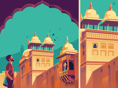Exploring the details textures illustration royal series travel india jaipur patio courtyard mural palace style