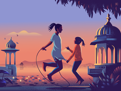 In Sync series texture story illustration reflection sunset everyday rustic india game skipping rhythm syncing rajasthan