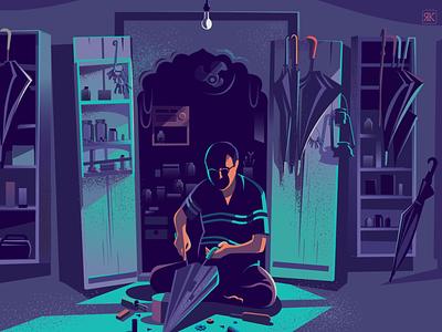 Tweaking and fixing story illustration market repair shop india rajasthan umbrella tweak fixing