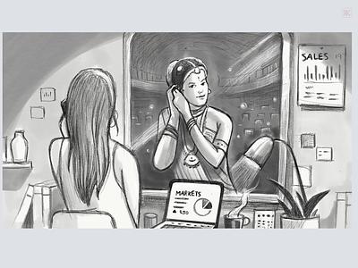 Cherished hobby illusration series conceptual illustration everyday mirror daily concept cherish hobby