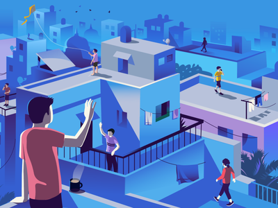 Early Mornings illustration india story early morning lifestyle active social walking rooftops morning routine