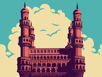 Charminar - Hyd hyderabad charminar monument illustration clouds minarets india