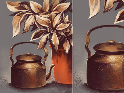 ketali - Good old Indian Chai Jug mangalore culture history series past and present handmade procreate indian vessle ketali india organic hertiage traditional object plant nature kettle