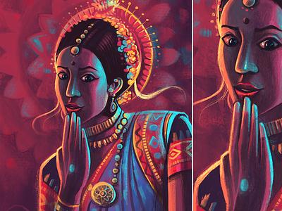 Sense of wonder ipadpro awe stage dramatic lighting expressive experession dance colorful illustration surprise wonderstruck india dance form odissi