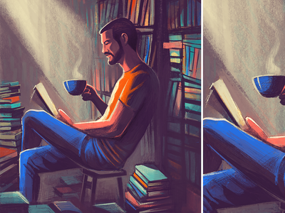 Coffee and books procreate illustration weekend lighting words mood relaxed home corner books coffee