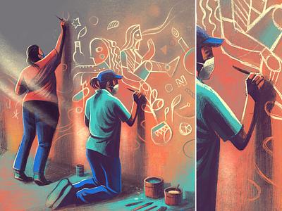 Tranforming walls into canvas india illustration series story colourful ipadpro procreate bangalore painting mural wallart canvas wall grafitti