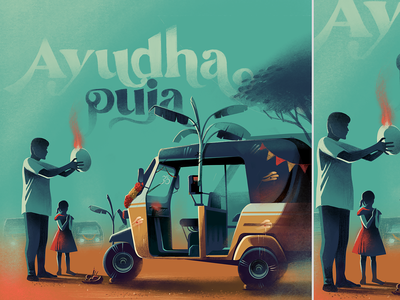 Ayudha puja everyday illustration procreate typography respect autorickshaw india dasara celebration tools ayudha puja navratri streets festive