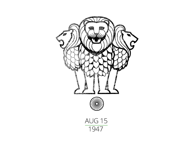 Happy Independence day ashoka 3 lions independence india emblem minimal line line drawing