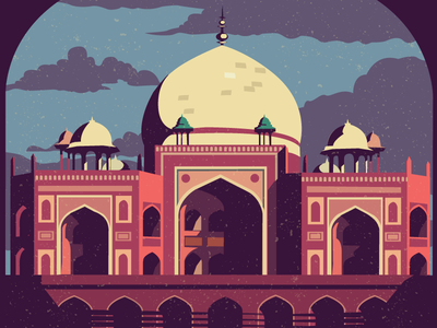 Humayun's tomb - Delhi delhi ruins hertiage india humayuns tomb mughal illustration flat sky