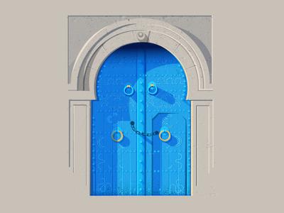 Doors - series 01 doors rajasthan colorful blue illustration vector indian door india vintage