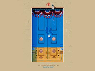 Doors series - 02 doors south india colorful blue illustration vector indian door india vintage