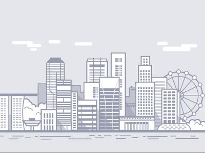 WIP - Singapore singapore vector line drawing minimal city illustration city scape skyline