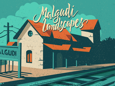 Malgudi Days malgudi book cover editoral landscapes type vintage colourful