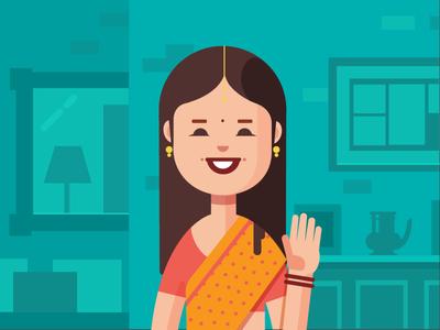 Say Hello indian women hello wave interior ethnic modern flat flat illustration illustration