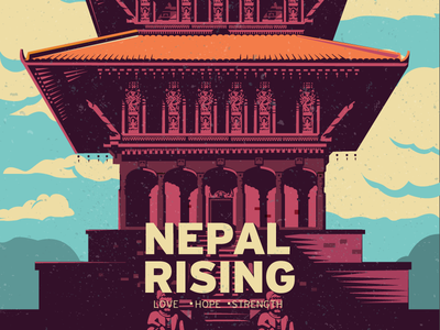 Nepal Rising  illustration design earthquake relief temple strength hope love rising nepal