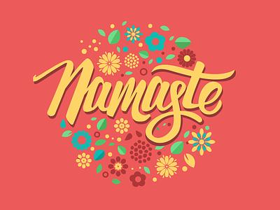 Hello floral illustration onboarding typogrpahy hello namaste