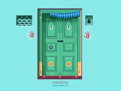 Door #4 hands symmetry illustration vintage karnataka south india india indian doors doors