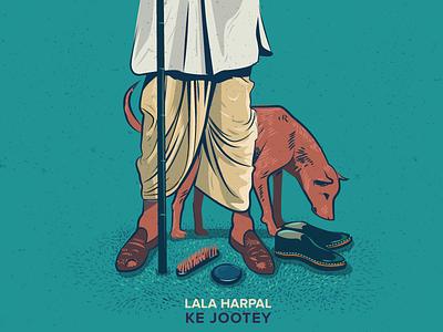 Lalaji's shoes book jacket dog polish shoes rural illustration design penguin