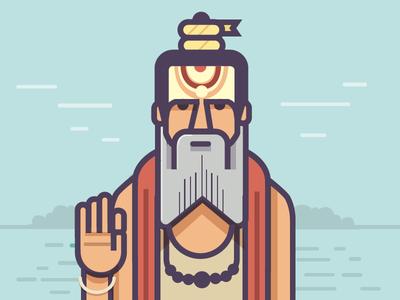 Sadhu illustration flat faith baba sadhu india kumbhmela kumbh