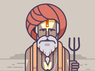 Sadhu 02 illustration flat faith baba sadhu india kumbhmela kumbh