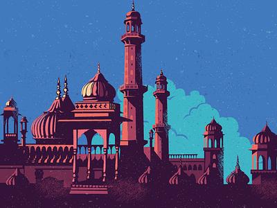WIP - Imambara location culture vintage heritage monument architecture wip lucknow north imambara india illustration