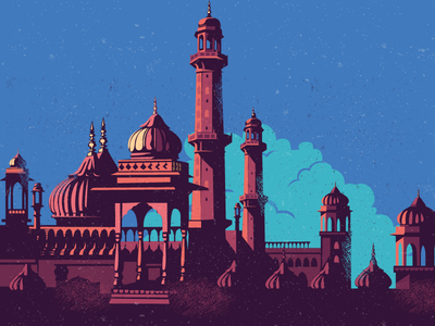 WIP - Imambara location culture vintage heritage monument architecture wip lucknow north imambara india illustration