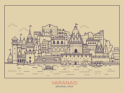 Varanasi - Benaras water front boats india temple holy skyline city flat benares benaras varanasi