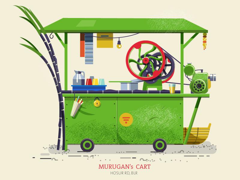 Thela 03 - Sugarcane cart flat minimal road roadside cart bananna india bangalore colourful essential pushcart thela