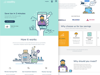 Landing page - tax saving web illustration landing page choice savings insights selfie taxes wealth decisions finance