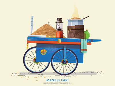 Thela 04 - Peanut cart colorful hand pump pushcart illustration peanuts essential cart flat india
