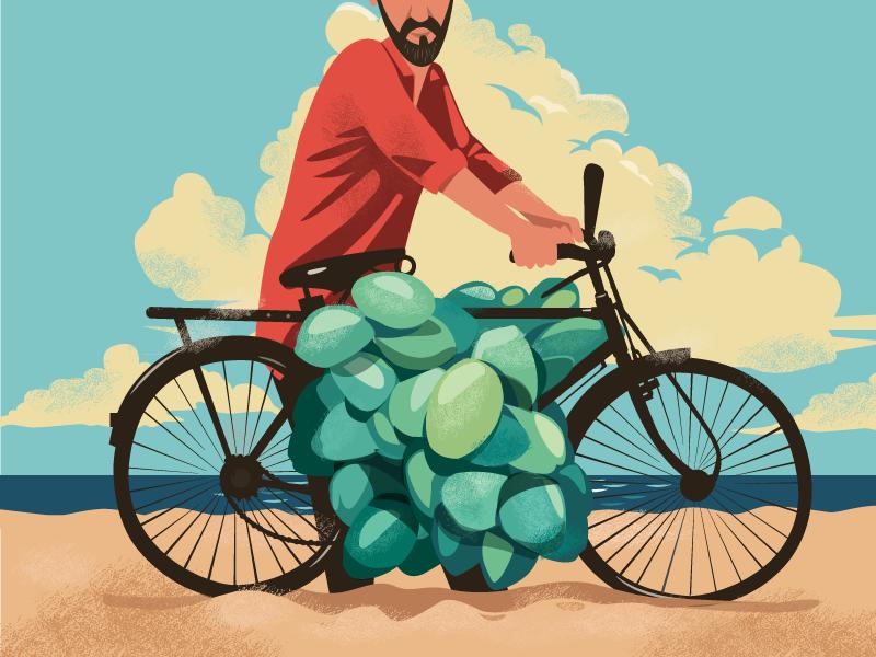 Explorations texture vector india beach vendor bicycle coconut cover lost mumbai series detective