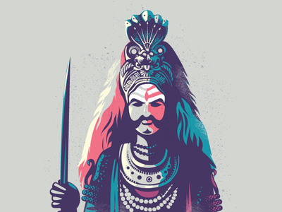 Veerbhadra - Folklore 04 folklore shiva story india karnataka illustration folk divine dance culture colourful