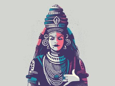 Koodiyattam - Folklore 05 drama india character expression illustration koodiyattam kerala temple play theatre dance folklore