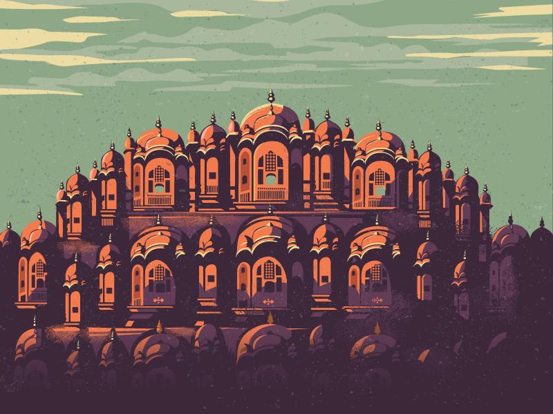 Hawa Mahal - Pink city pink city mugal architecture illustration history monument heritage palace india jaipur hawa mahal