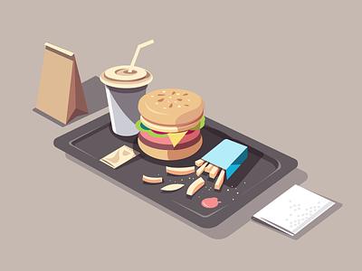Big Burger colourful composition animation frame illustration fries isometric drink burger food