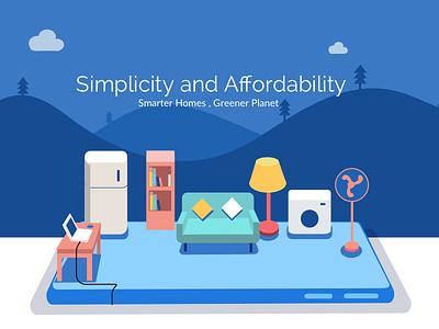 Smart Home - Landing page intelligence automatic fridge washing machine fan illustration smart smart home simple home automation
