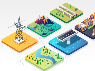 Explorations - Web project construction electricity water resources infrastructure security planning solutions isometric