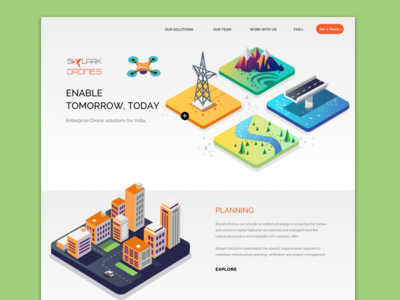 Drones - Landing page illustrated web landing page web government enterprise isometric solutions drone