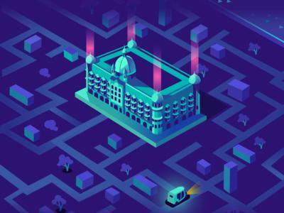 Tuk-Tuk - Exploration game india tuk-tuk city mumbai lighting neon isometric taj mahal hotel