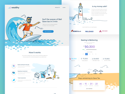 Save Tax - Landing page  web surf illustration landing page management savings insights tax wealth decision technology finance