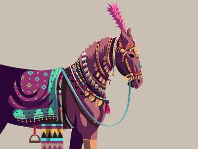 Decorated 03 - Horse illustration colorful marwari rajasthan jaipur india series decorated decorated animals