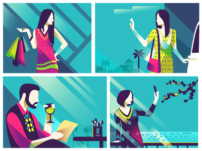 Explorations  india colourful illustration selfie occasions school weekend time shopping life style metro city