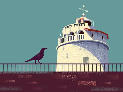 Fort Aguada, Goa postcard series illustration arabian sea portuguese india aguada fort fort goa