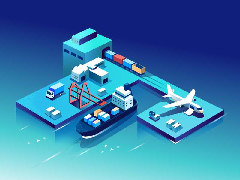 Inter-connected dramatic isometric freight road rail air ship cargo supply chain connected