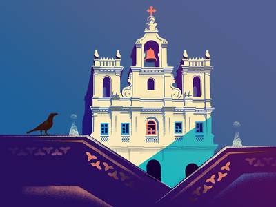 #02 - Our lady of the Immaculate - Goa series india heritage illustration panjim church goa wip