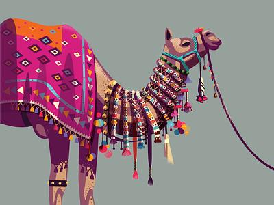 Decorated 04 - Jamal  museum mingei illustration colorful camel rajasthan jaipur india series decorated decorated animals