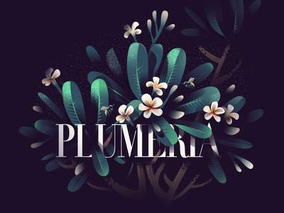 04 Plumeria vector illustration print bees fragrant bloom flowers garden frangipani plumeria